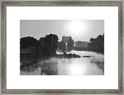 Fog In Park Monochrome Framed Print