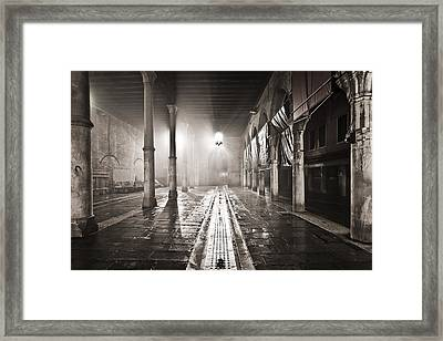 Fog In The Market Framed Print