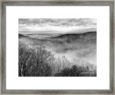 Framed Print featuring the photograph Fog In The Mountains - Pipestem State Park by Kerri Farley