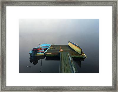 Fog Moves Out From The Deck Framed Print by Garland Johnson