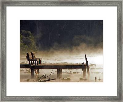 Fog On Lake Jeffords Framed Print