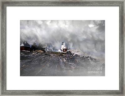 Fog On Pemaquid Point Framed Print by Skip Willits