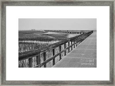 Fog On Port Royal Boardwalk Framed Print by Susan Jones