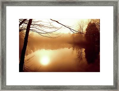 Fog On Shelly Lake - 2 Framed Print by Alan Hausenflock