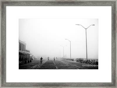 Fog On The Boardwalk Framed Print
