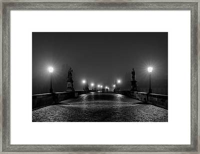 Framed Print featuring the photograph Fog On The Charles Bridge - Prague by Stuart Litoff