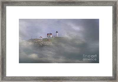 Fog On The Nubble Framed Print by Skip Willits