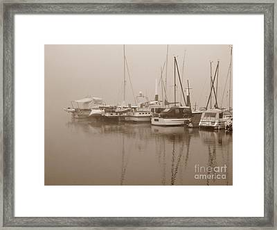 Fog On The Rhine  Sepia Framed Print