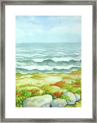 Framed Print featuring the painting Fog Over Cocoa Beach by Inese Poga