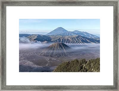 fog over Mount Bromo - Java Framed Print