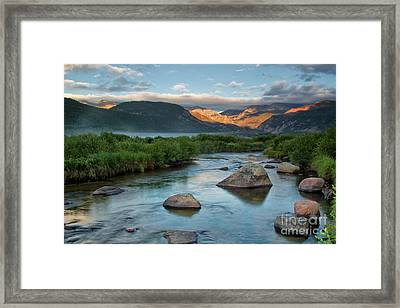 Fog Rolls In On Moraine Park And The Big Thompson River In Rocky Framed Print