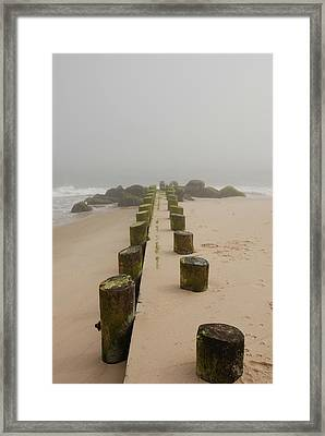 Fog Sits On Bay Head Beach - Jersey Shore Framed Print