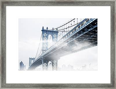 Fog Under The Manhattan Framed Print by Az Jackson