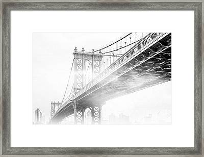 Fog Under The Manhattan Bw Framed Print