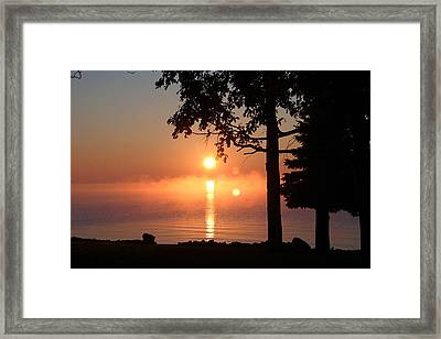 Framed Print featuring the photograph Fog With A Sunrise On Big Bago by Jack G  Brauer
