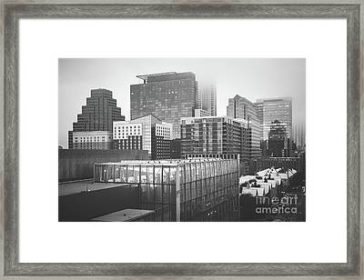 Foggy Austin Skyline Black And White Picture Framed Print by Paul Velgos
