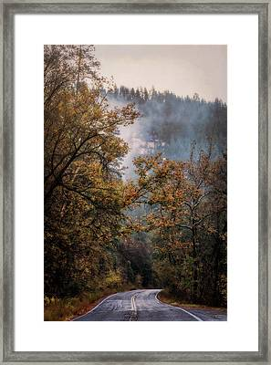 Framed Print featuring the photograph Foggy Autumn Road  by Saija Lehtonen