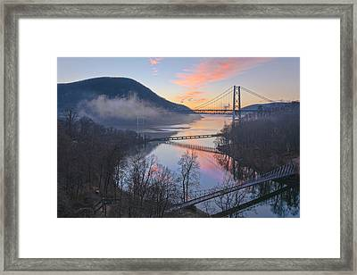 Foggy Dawn At Three Bridges Framed Print