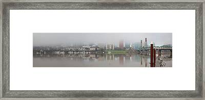 Foggy Day Along Portland Waterfront Panorama Framed Print