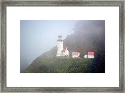 Framed Print featuring the photograph Foggy Day At The Heceta Head Lighthouse by AJ Schibig