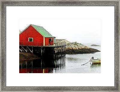 Framed Print featuring the photograph Foggy Day On The Atlantic Ocean by Elaine Manley