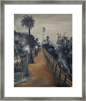 Framed Print featuring the painting Foggy Day On Ocean Ave by Lindsay Frost