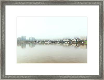 Foggy Day On Portland Downtown Waterfront Framed Print