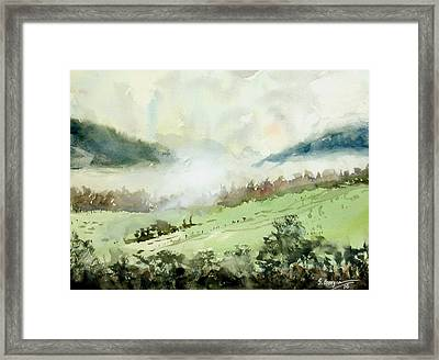 Foggy Day At Boonah, Australia Framed Print by Sof Georgiou