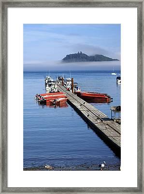 Foggy Dock Framed Print by Marty Koch