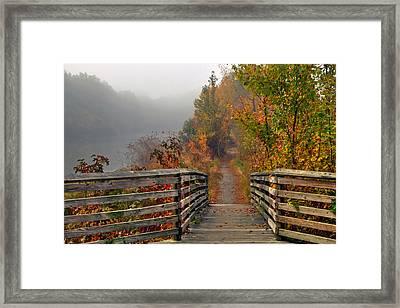 Foggy Fall Trail Framed Print