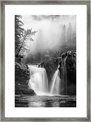 Foggy Falls Monochrome Framed Print by Darren White
