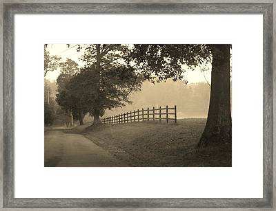 Foggy Fence Line Framed Print