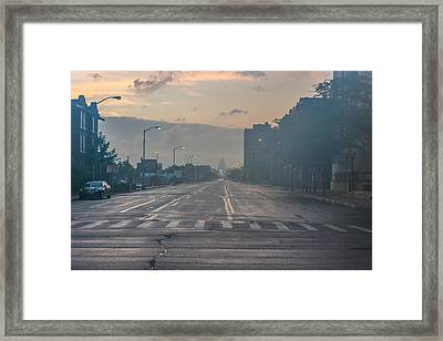 Foggy Fisher Color Framed Print
