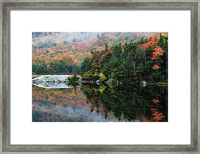 Framed Print featuring the photograph Foggy Foliage Morning Kinsman Notch by Jeff Folger