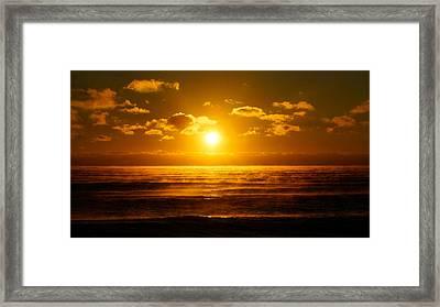 Foggy Gold Sunrise Framed Print