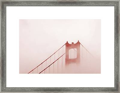 Framed Print featuring the photograph Foggy Golden Gate by Art Block Collections