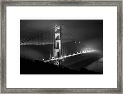 Foggy Golden Gate Bridge Black And White   Framed Print by John McGraw