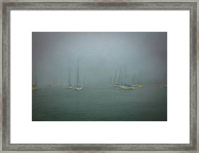 Foggy Harbor Framed Print