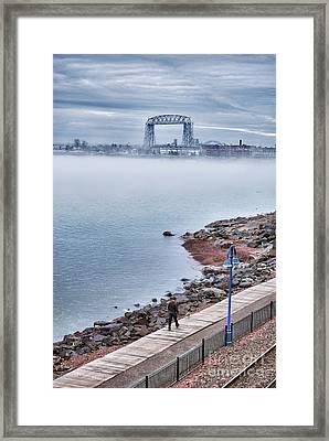 Foggy Lake Superior Afternoon Framed Print by Mark David Zahn