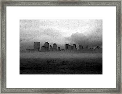Foggy Manhatten Black And White Framed Print
