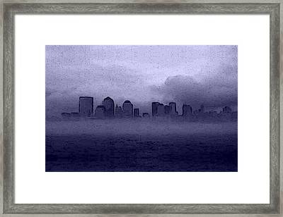Foggy Manhatten Blue Framed Print