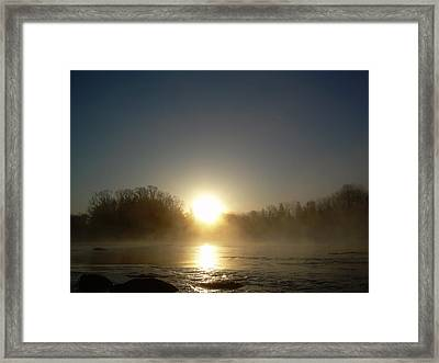 Framed Print featuring the photograph Foggy Mississippi River Sunrise by Kent Lorentzen