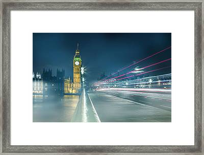 Foggy Mist Covered Westminster Bridge Framed Print by Martin Newman