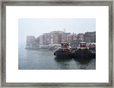 Foggy Moran Tugboats Framed Print by Eric Gendron