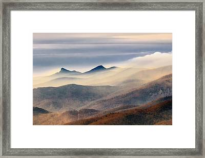 Framed Print featuring the photograph Foggy Morning At Hawksbill And Table Rock by Ken Barrett