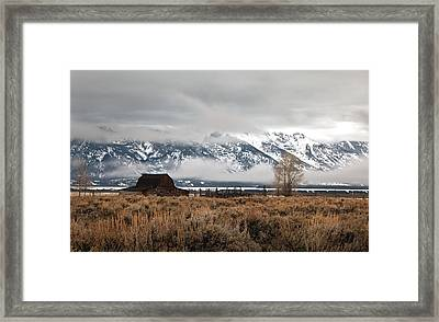 Foggy Morning At Moulton's Barn Framed Print by Robert  McCord