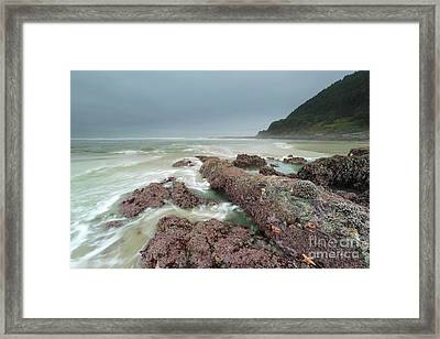 Foggy Morning At Neptune Beach, Oregon Framed Print