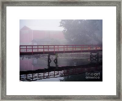 Foggy Morning At The Bridge Framed Print