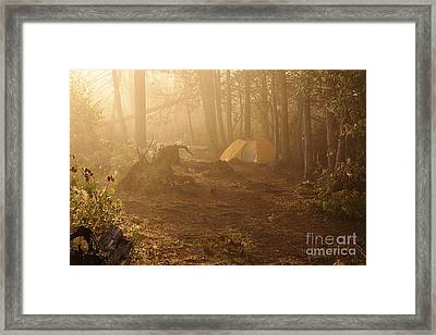 Framed Print featuring the photograph Foggy Morning At The Campsite by Larry Ricker