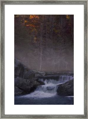 Framed Print featuring the photograph Foggy Morning At Linville Falls by Ellen Heaverlo